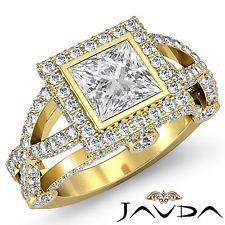 Princess Diamond Engagement Bezel Halo Pave Ring GIA G VS2 18k Yellow Gold 2.9ct