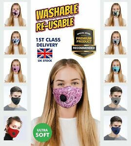 Face Mask With Nose Wire 100% Cotton Washable Reusable 4 Layers Filter Pocket UK