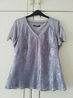 JACQUES VERT WOMENS GREY SHORT SLEEVE BLOUSE SIZE 12 FLORAL PART SATIN BEADS