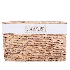 Water Hyacinth Honey Wicker Trunk Nursery Toy Blanket Storage Chest Basket Box