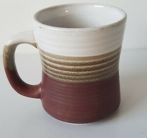 Vintage Mug Cup Glazed Retro Coffee 1980s bands of White Dark Brown Tan pottery.