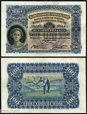SUIZA SWITZERLAND SUISSE 100 francs 1924 1937 Pick 35 i  MBC- /  VF-