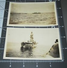 TWO USS OKLAHOMA 1919 US Navy Ship WWI Naval Fleet Early Military Vintage PHOTO