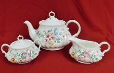 ROYAL DOULTON ARCADIA, TEAPOT,  CREAM & SUGAR -MINT
