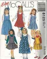6125 UNCUT Vintage McCalls Pattern Little Girls Pullover Jumper DRESS SEWING OOP