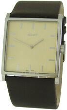 a.b.art EL 104 große Herrenuhr Quarz swiss made Carre Form Leder Uhrband braun