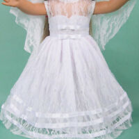 Handmade White Wedding Party Dress Clothes For 18inch Girls Doll Dm