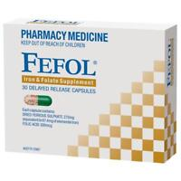 * FEFOL IRON & FOLATE SUPPLEMENT 30 DELAYED RELEASE CAPSULES DEFICIENCY