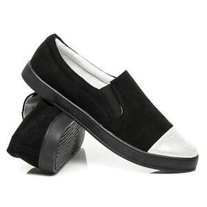 Womens-Ladies Slip On Flat Plimsolls Sneakers Skater Trainers Black NEW*UK STOCK