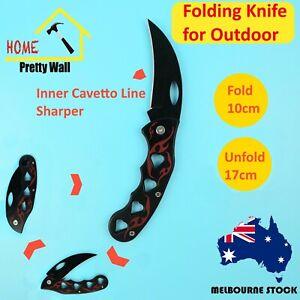 Black Bent Folding Camping Knife Pocket Knife Fishing Tool Survival Outdoor Hunt