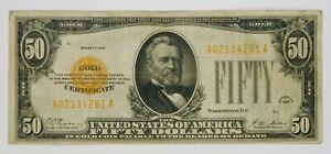 1928 $50 Small Size Gold Certificate Currency Banknote