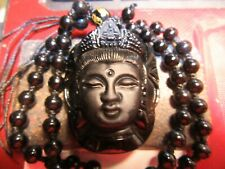 Natural Black Obsidian Carved Guanyin Kwan Yin Goddes Pendant Ajustable Necklace