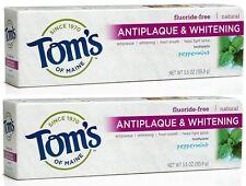 2 Tom's of Maine Antiplaque Whitening Fluoride-free Toothpaste Peppermint 5.5Oz