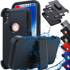 Heavy Duty Shockproof Silicone Tough Hard Case Cover iPhone X +Belt Clip Holster
