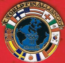 1996 Atlanta World Pin Alliance Globe With Host National Flags Olympic Pin