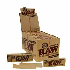 Raw Gummed Filter Tips -Purest Natural Fibres Full Box Of 24 Perforated Booklets