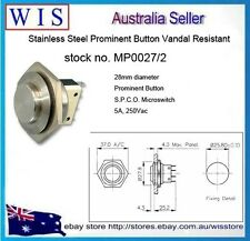 BULGIN-Stainless Steel Push Button Switch, SP, Panel Mount, Momentary-MP0027/2