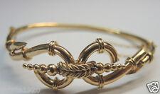 Vintage Antique Art Deco Bangle Bracelet 9KT Yellow Gold Estate Fine Jewelry