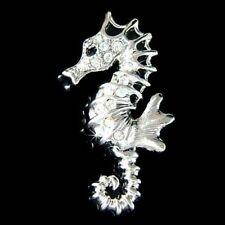 BRIDAL w Swarovski Crystal Sea Horse Marine ~~SEAHORSE pin Brooch~ BEACH WEDDING