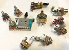 Lot of Assorted Guitar & Bass Wiring Harness Parts ~ Pots, Switches, Jacks