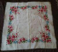 Wool white Vintage Russian head shawl Ukrainian Wool Floral Scarf USSR