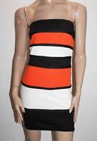 AX Paris Brand Orange White Black Stripe Strapless Dress Size 10 BNWT #TA101