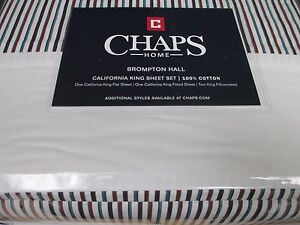 "Chaps Brompton Hall 4pc Cotton 18"" Deep Pocket Striped Sheet Set- Cal King"