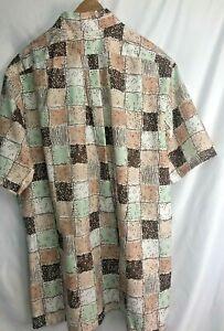 "Vintage Towncraft Shirt Mid Century Modern Retro Rayon? Poly? XL  Tall 17-171/2"""