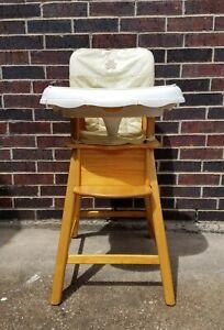 Vintage Eddie Bauer High Chair Kids Seat, Solid Beech Wood & Accessories