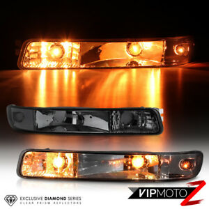 [SMOKE] 1999-2006 GMC Sierra Front Signal Parking Bumper Lights Lamps PAIR LH+RH
