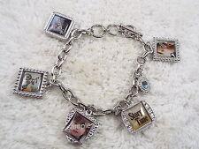 Silvertone Photo Frame Charm Bracelet  (C16)