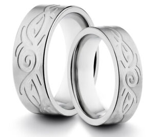 HIS & HERS 8MM/6MM Titanium Celtic Tribal Comfort Fit Wedding Band TWO RING SET
