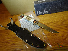 "LINDER OF SOLINGEN 8 1/8"" ""TRAVELLER"" STAG HANDLE FIXED BLADE KNIFE 420 STAINLES"