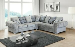 New LARGE Verona Sofa Fabric 3+2 Seater or Corner Sofa 5 Seater GREY, MINK,