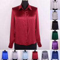 Women's 19mm 100% Mulberry Silk Dress Shirts Button Down Blouse Long Sleeve Tops