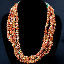 Vintage Native American Indian Necklace & Earrings: Coral, Turqoise, Sterling