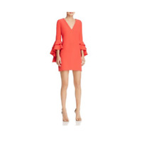 MILLY Red Dress Ruffle Bell Sleeves V-Neck Size 12 Shift New Holiday Nicole
