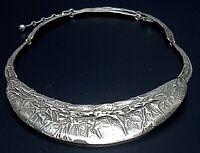 925 Silber Collier massiv-naturalistisches Design 30er Jahre 41,5 cm lang /F488