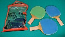 New listing Vintage Table Tennis Ping Pong Set Japan Paddles wood handles plastic bag 1950s