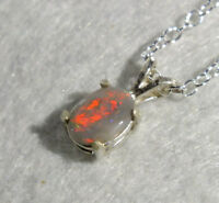 DARK OPAL Red with touches of Mauve, Green & Gold Sterling Silver Pendant 8mm x6