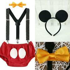 baby boy mickey mouse first 1st birthday outfit 4pc cake smash photo shoot prop
