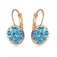 Rose Gold Plated Blue Crystal Lever Back Earrings  Bridal Birthday Gift
