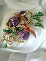Vintage Signed Exquisite Recd Fuchsia Flower July Birthday Series Brooch Pin