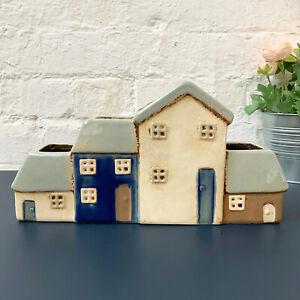 Multi Village Pottery Cottage 4 Houses Ceramic Plant Flower Pot Holder Ornament