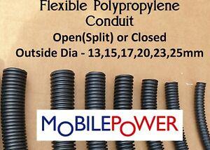 Black flexible plastic conduit by the metre Split(Open) OR Closed