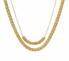 "16"" 18"" Layered Byzantine Chain Necklace 14K Yellow Gold Clad Silver 2 pcz QVC"