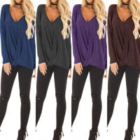 UK Women Deep V Neck Long Sleeve Plunge Tops Pleated Casual Shirt Blouse Plus
