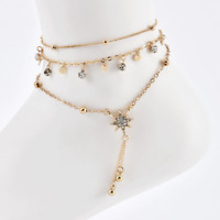 Gold Colour Moon and Star Foot Chain Simple Sandal Thin Anklet Dainty Beach Cute