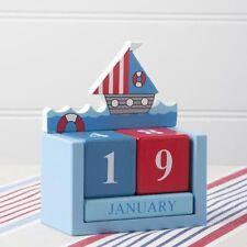 Sailboat Desktop Calendar *Perpetual* Nautical Blue + Red *Wooden *Gisela Graham