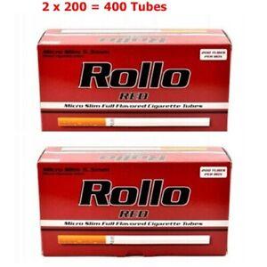 Empty Cigarette Tubes Rollo Red Ultra Slim 200 80 mm/6,5 mm Filter